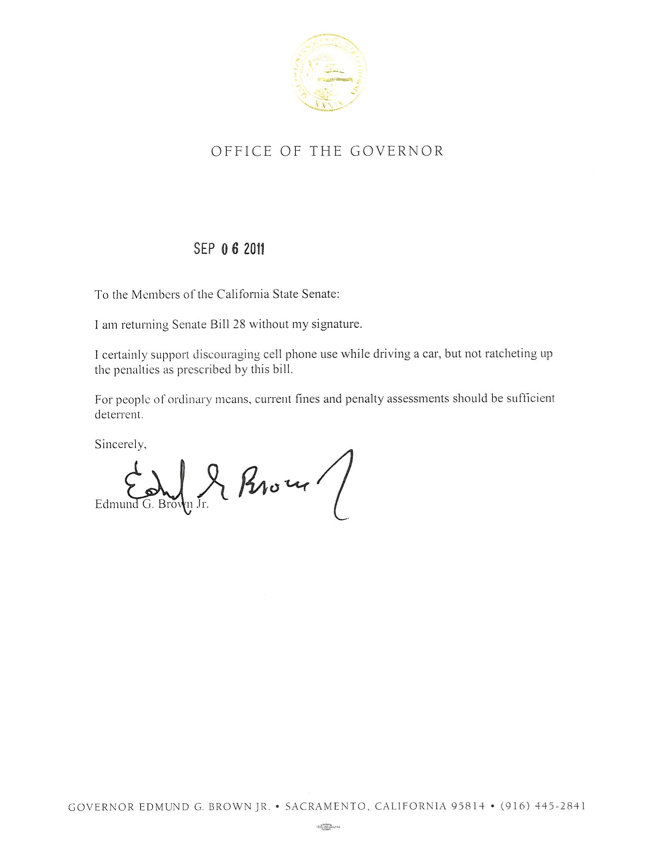 distracted driving penalty law veto message in Calif.