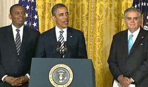 foxx, obama, lahood at white house