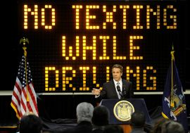 New York governor vs. distracted drivers image
