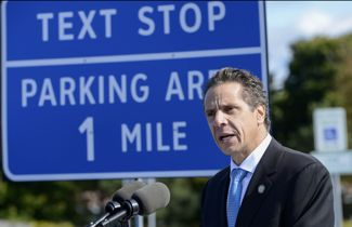 Gov. Andrew Cuomo at texting zone event